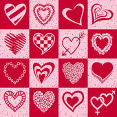 Set of pink and red hearts — Stock Vector