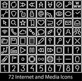 Internet and Media icons — Stock Vector