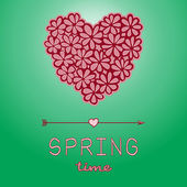 Spring time card with heart — Stockvektor