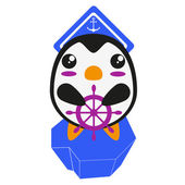 Penguin sailor on an iceberg — Stock Vector