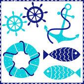 Anchor and ship wheels — Stock Vector