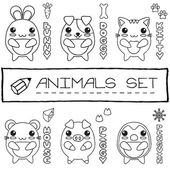 Hand drawn set of japanese style baby animals. — Stock Vector