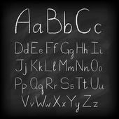 Chalk board hand drawn alphabet. — Stock Vector