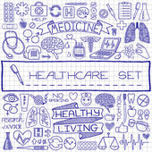 Doodle medical set of icons — Stock Vector
