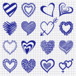 Hand drawn set of heart icons on a checkered paper background. P — Stock Vector #50572869