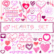 Hand drawn set of hearts and arrows — Vector de stock