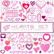 Hand drawn set of hearts and arrows — Stockvektor