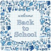 Welcome back to school card. — Vector de stock