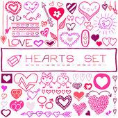 Mão desenhado conjunto de corações e setas — Vetor de Stock