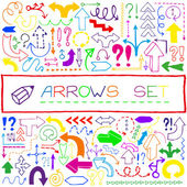 Hand drawn colorful arrow icons with question and exclamation ma — ストックベクタ