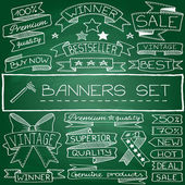 Hand drawn banner and tag icons — Stockvector