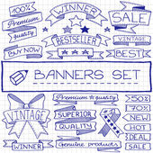 Hand drawn banner and tag icons — Stock Vector