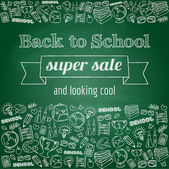 Doodle back to school super sale poster — Stockvector