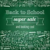 Doodle back to school super sale poster — Vettoriale Stock