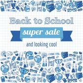 Doodle back to school super sale poster. — Vettoriale Stock