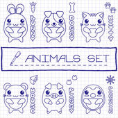 Hand drawn set of japanese style baby animals — Vecteur