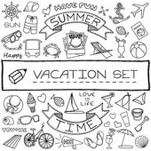 Hand drawn vacation icons set — Stock Vector