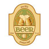Beer label design in golden and green. — Stock Vector