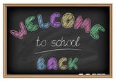 Back to school poster. Chalkboard effect. — Stock Vector