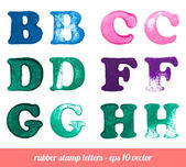 Isolated rubber stamp letters set. — Stock Vector