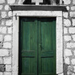 Green Old Door in Dubrovnik — Stock Photo