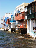 Houses in the Water in Mykonos,Greece — Stock Photo