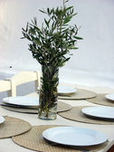 Greek Restaurant Table Decoration in Mykonos,Greece — Stock Photo