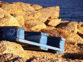 голубое здание поддон в миконос, греция — Стоковое фото