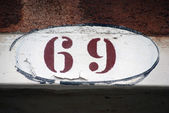 House Number Sign in Venice,Number 69 — Zdjęcie stockowe
