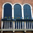 Antique Windows and balcony in Venice — Stock Photo