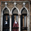 Carnival decorated Window and Balcony in Venice — Stock Photo