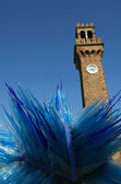 Murano Blue Sculpture and Bell tower clock in Venice — Stock Photo