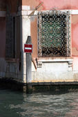 Water traffic sign board in Venice — Foto de Stock