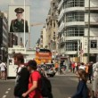 Stock Video: Checkpoint Charlie AmericSector Entrance tourist attraction in Berlin