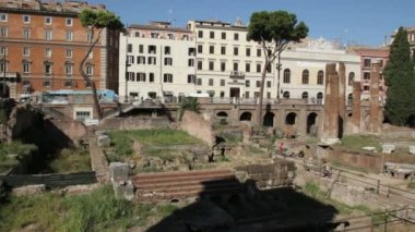 Ancient Roman ruins in largo Argentina — Wideo stockowe