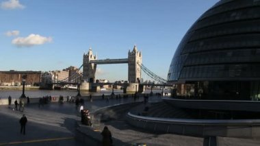 Tower Bridge and Shard Tower — Stock Video