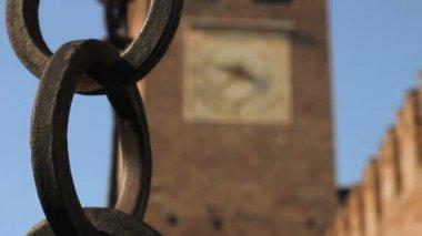 Castle Vecchio Clock Tower in Verona — Wideo stockowe