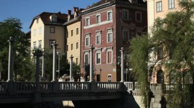 Cobblers' Bridge, Ljubljana — Vídeo Stock