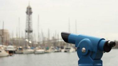 Port Vell and telescope — Stock Video