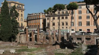 Ancient Roman ruins in largo Argentina — Stock Video