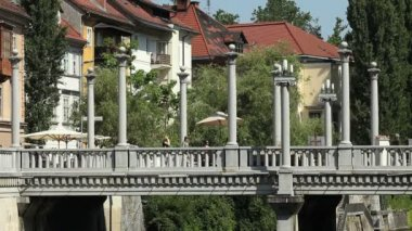 Cobblers' Bridge, Ljubljana — ストックビデオ