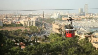 MontJuic cableway and Barcelona skyline — Stock Video