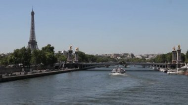 Eiffel Tower and Alexandre III bridge, Paris — Stock Video