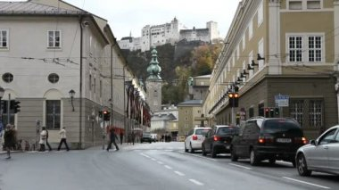 View from the city street of  Hohensalzburg — Stock Video