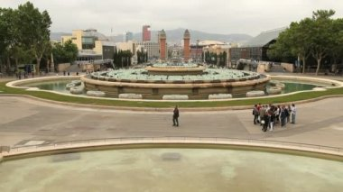 Inactive Fountain in Placa Espanya in Barcelona — Stock Video