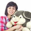 Stock Photo: Young women with plush animal