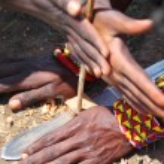 Masai Make Fire — Stock Photo