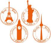 Stämpel frankrike, new york, london, berlin — Stockvektor