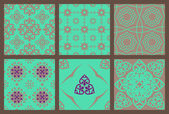 Set of seamless patterns brown turquoise — Stock Vector