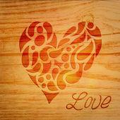 Heart over wooden background — Stock Vector